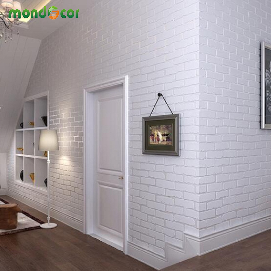 Buy mondecor designers modern 3d brick for Living room paper