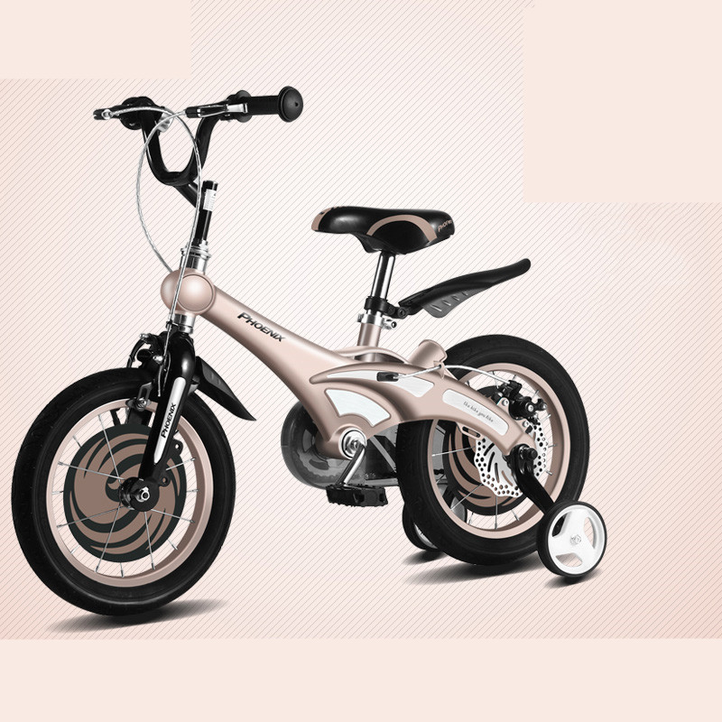 Cheap New Brand Magnesium Alloy Frame Child Bike 12/14/16 inch Auxiliary Wheel Dual Disc Brake Bicycle Boy Girl Children buggy 3