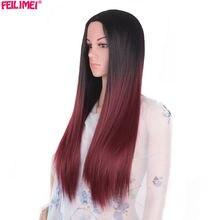 Feilimei середня частина синтетичної Ombre парик 24 дюймів 280g довго прямий долонь повна голова чорно-блакитні фіолетові сірі парики для жінок волосся