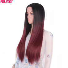 Feilimei Middle Part Synthetic Ombre Wig 24 Inch 280g Long Straight Femals Full Head Black Blue Purple Gray Colored Cosplay Wigs