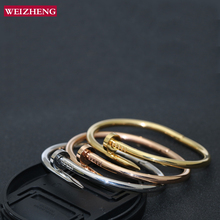 Фотография Free Shipping Weizheng jewelry popular style stainless steel bracelet  fashion nail bangle  for women homme gift drop shipping
