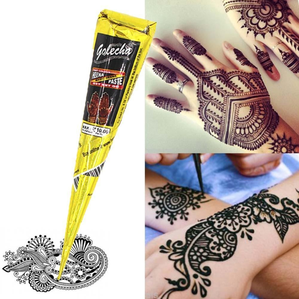 Black brown red white Henna Cones Indian Henna Tattoo Paste For Temporary Tattoo body art Sticker Mehndi Body Paint Wholesale in Body Paint from Beauty Health