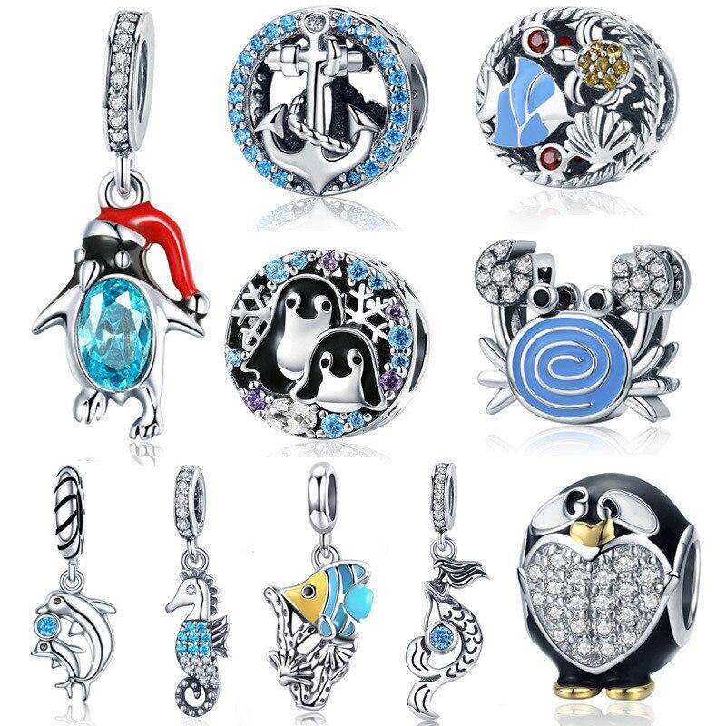 INBEAUT 100% 925 Sterling Silver Cute Dolphin Sea Horse Fish Beads CZ Penguin Crab Charm Fit Pandora Bracelet Ocean Collection