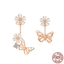 цены Butterfly And Flower Earrings S925 Enamel Floral Asymmetry Dangle Earring 925 Sterling Silver Engagement Jewelry Bse100