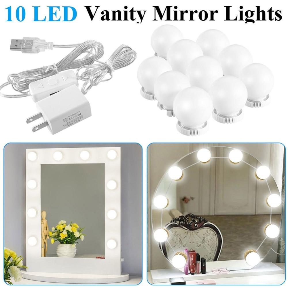 10 LED Bulb Vanity Makeup Mirror LED Vanity Mirror Lamp Kit Dresser Lamp Accessory With Dimmable Light US EU UK Plug #288349 коробка для хранения valiant travelling складная 25 х 33 х 18 5 см 2 шт