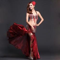 Производительность Восточный живот Одежда для танцев 3-костюм бюстгальтер из бисера, пояс и юбка танец живота костюм комплект