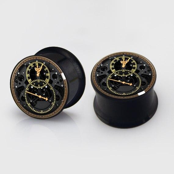 2 pieces clock plugs anodized black ear plug gauges steel flesh tunnel body piercing jewelry 1 pair