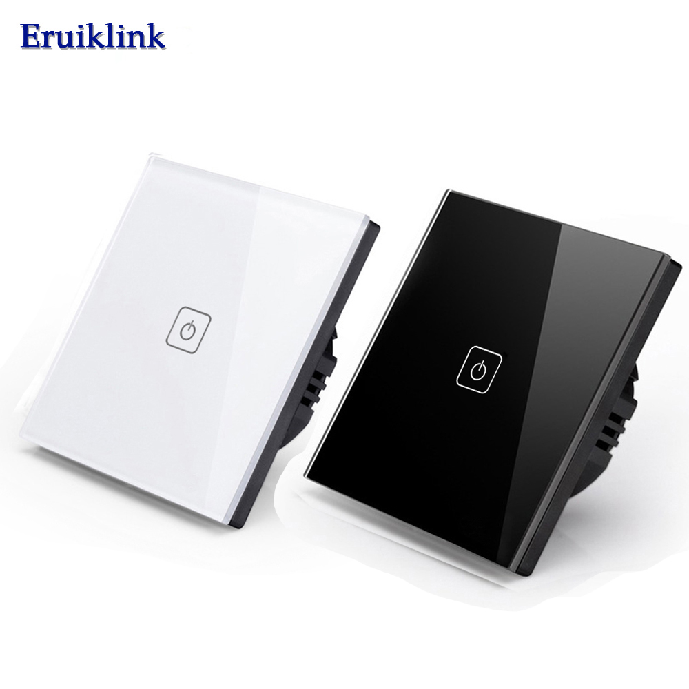 Eruiklink 1gang 1way Crystal Glass Panel Wall Switch,EU/UK Standard Touch Switch Screen Light Switch,AC110V~240V with Indicator mvava 3 gang 1 way eu white crystal glass panel wall touch switch wireless remote touch screen light switch with led indicator