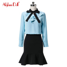 Alglam Doll Women 2 Pieces Set OL Work Office Ladies Ruffles Full Sleeve Blouse Top Shirt + Mini Mermaid Skirt 2017 Summer Dress