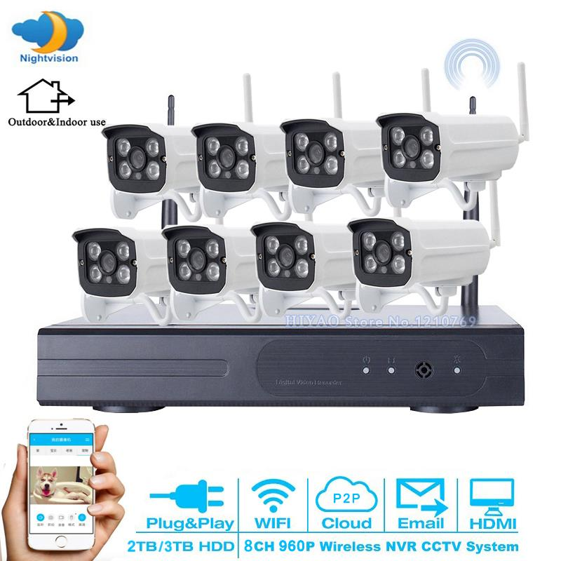 Home Plug and Play Video Surveillance System 8CH Wireless NVR HD 960P Outdoor WIFI Network Security IP Camera CCTV System 3T HDD zosi 1080p 8ch tvi dvr with 8x 1080p hd outdoor home security video surveillance camera system 2tb hard drive white