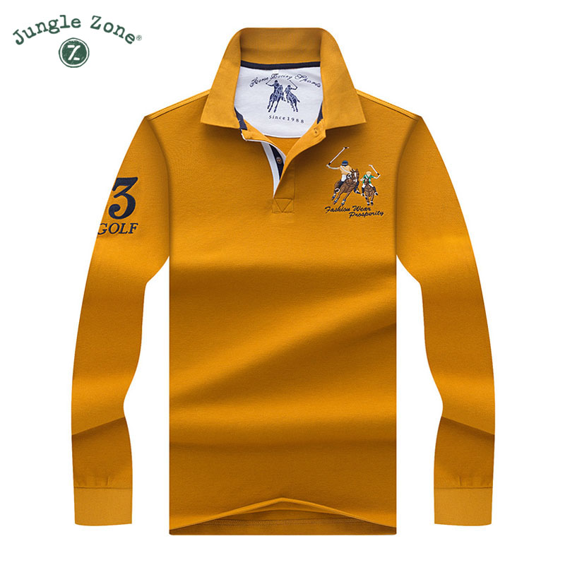 Hohe Qualität Tops   Tees einfarbig Männer Polo 3D Stickerei Polo Casual Polo  Shirts winter herren langarm polo-shirt marke e471e91cf6