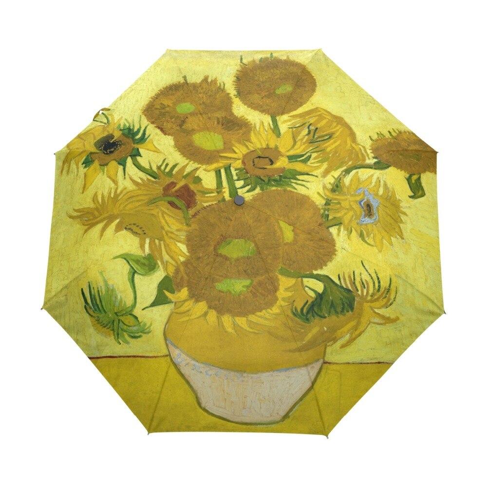 유명한 드로잉 해바라기 1890 유화 우산 Foldable 여자 우산 우산 어린이를위한 자동 windproof 우산 우산