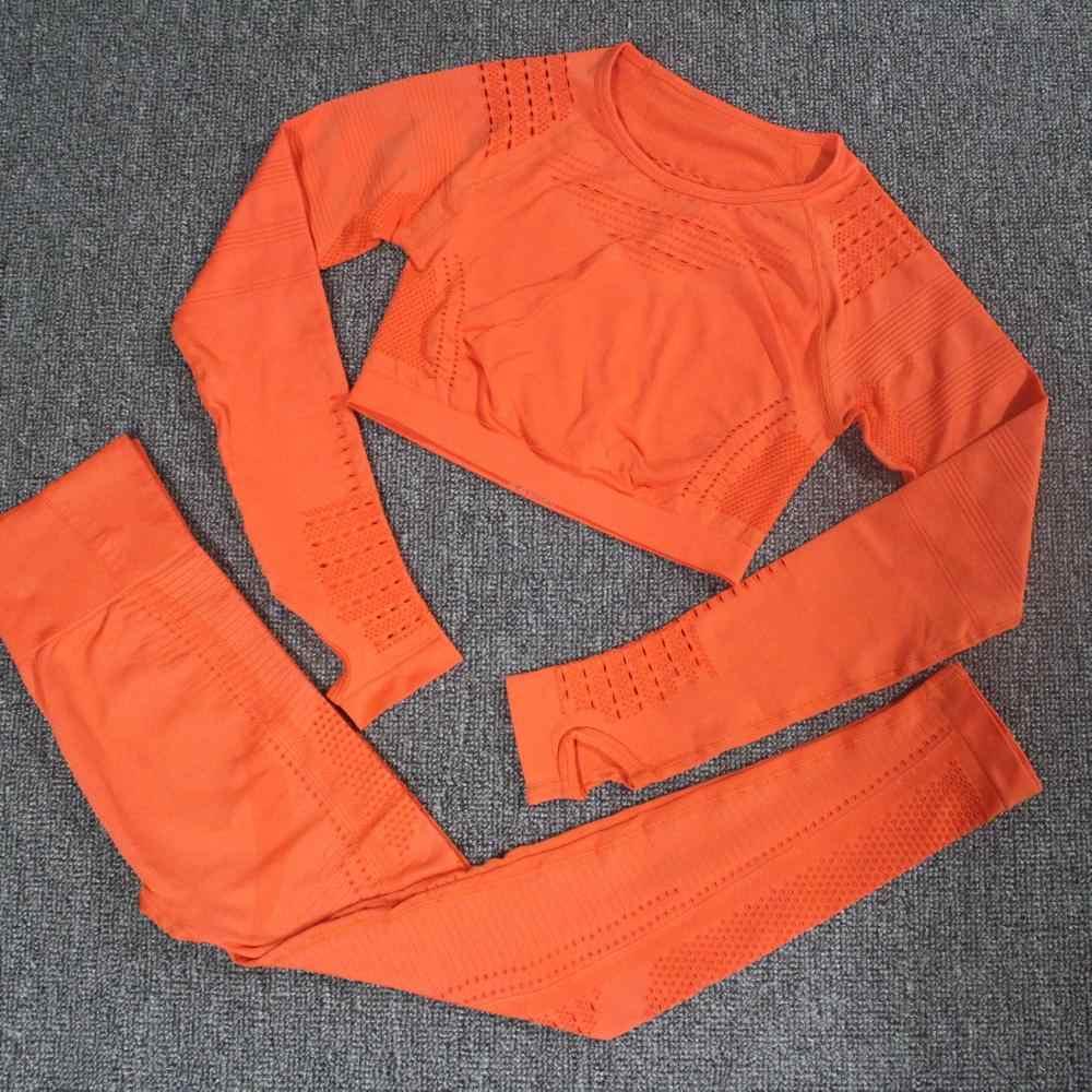 2 sztuk zestaw jogi kobiet ubrania do ćwiczeń bez skazy z dzianiny z długim rękawem Hollow-out siatki kompresji Crop top + bez szwu joga legginsy siłownia