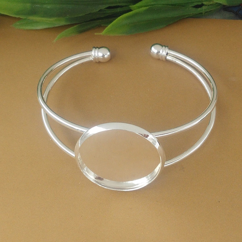 25mm 7 Color Silver Plated Bangle Base Diy Bracelet Blank Findings Tray Bezel Setting Cabochon Cameo Jewelry Marking 08119 mibrow 10pcs lot stainless steel 8 10 12 14 16 18 20mm blank french lever earring tray cabochon setting cameo base jewelry