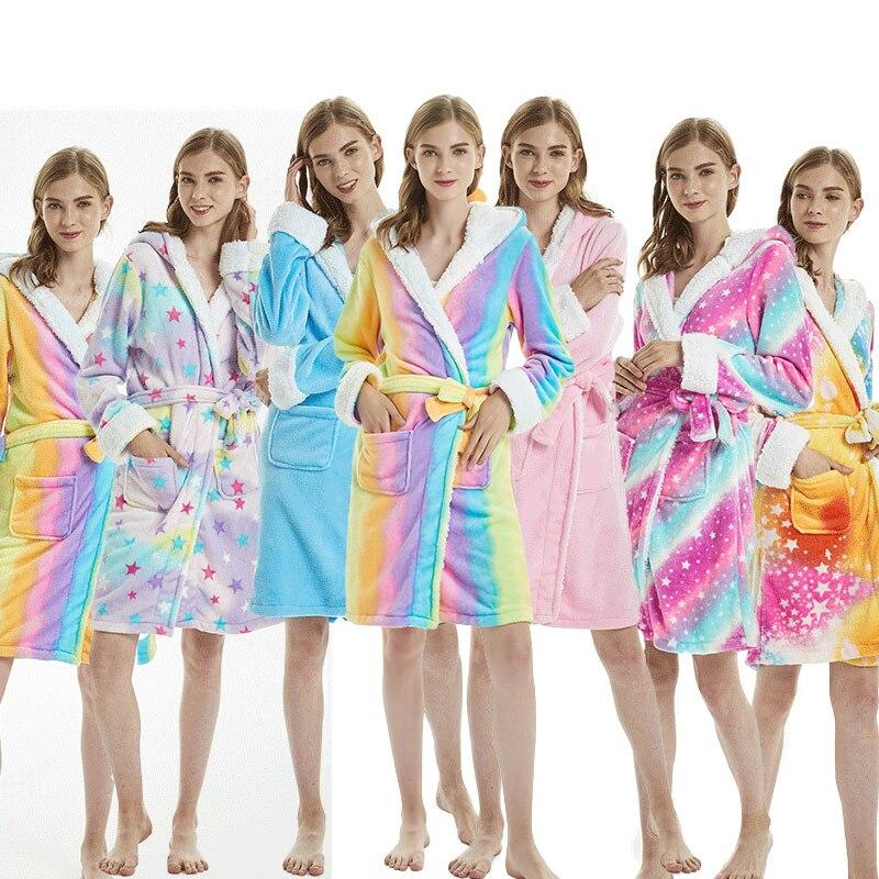 Women's Hooded Flannel Robe Unicorn Cartoon Bathrobe Knee Length Luxury Sleepwear Winter Warm Terry Lightweight Animal Robes