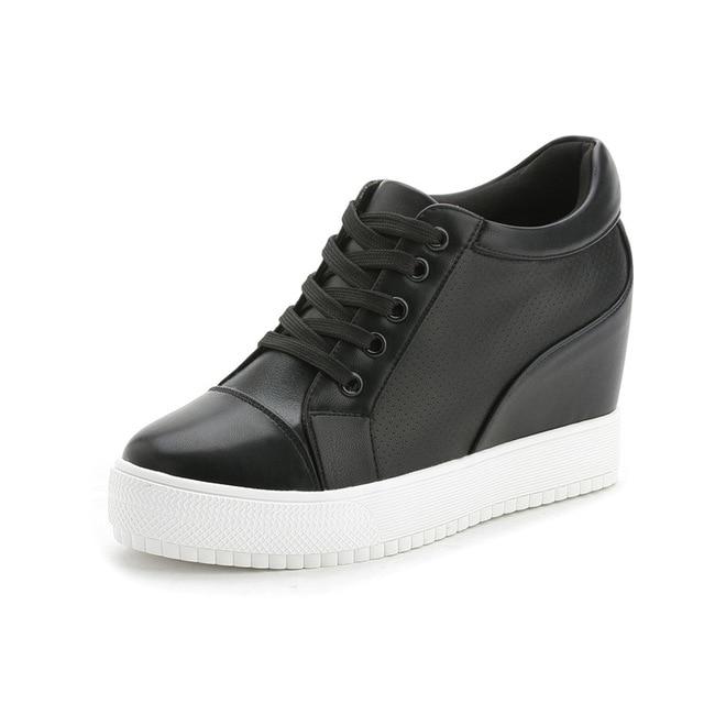 Fujin 2017 Winter Autumn New Women's Genuine Leather Platform Shoes Wedges White Lady casual Shoes Plush pumps shoes size 35-40