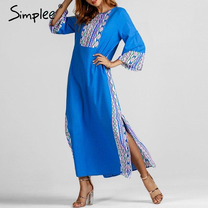 Simplee этническое синее длинное платье с принтом женское летнее платье с О-образным вырезом из льна Плюс Размер платья Повседневное корейское...