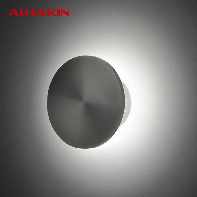 ФОТО ALHAKIN 6W Wall LED Light Stair Wall Light 4000K White Aluminum Dia15cm Indoor Wall Lamp Bedside Lamp 85-265V Modern Luminaria