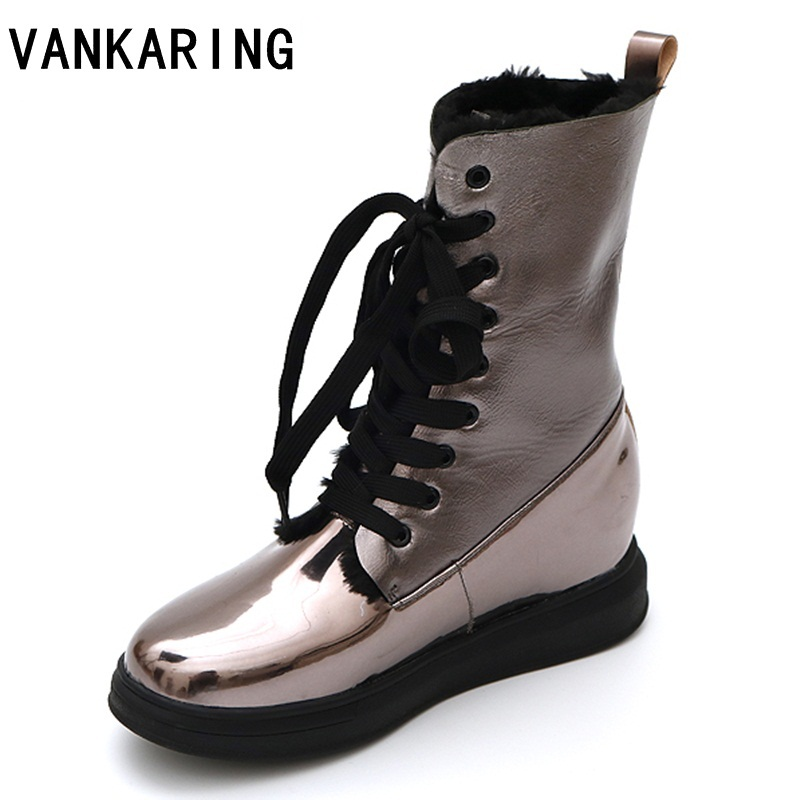VANKARING new fashion women ankle boots shoes high quality wedges round toe platform shoes woman winter warm snow casual boots women snow boots wedges ankle boots fashion slimming swing shoes plush solid round toe platform shoes lady casual winter boots32