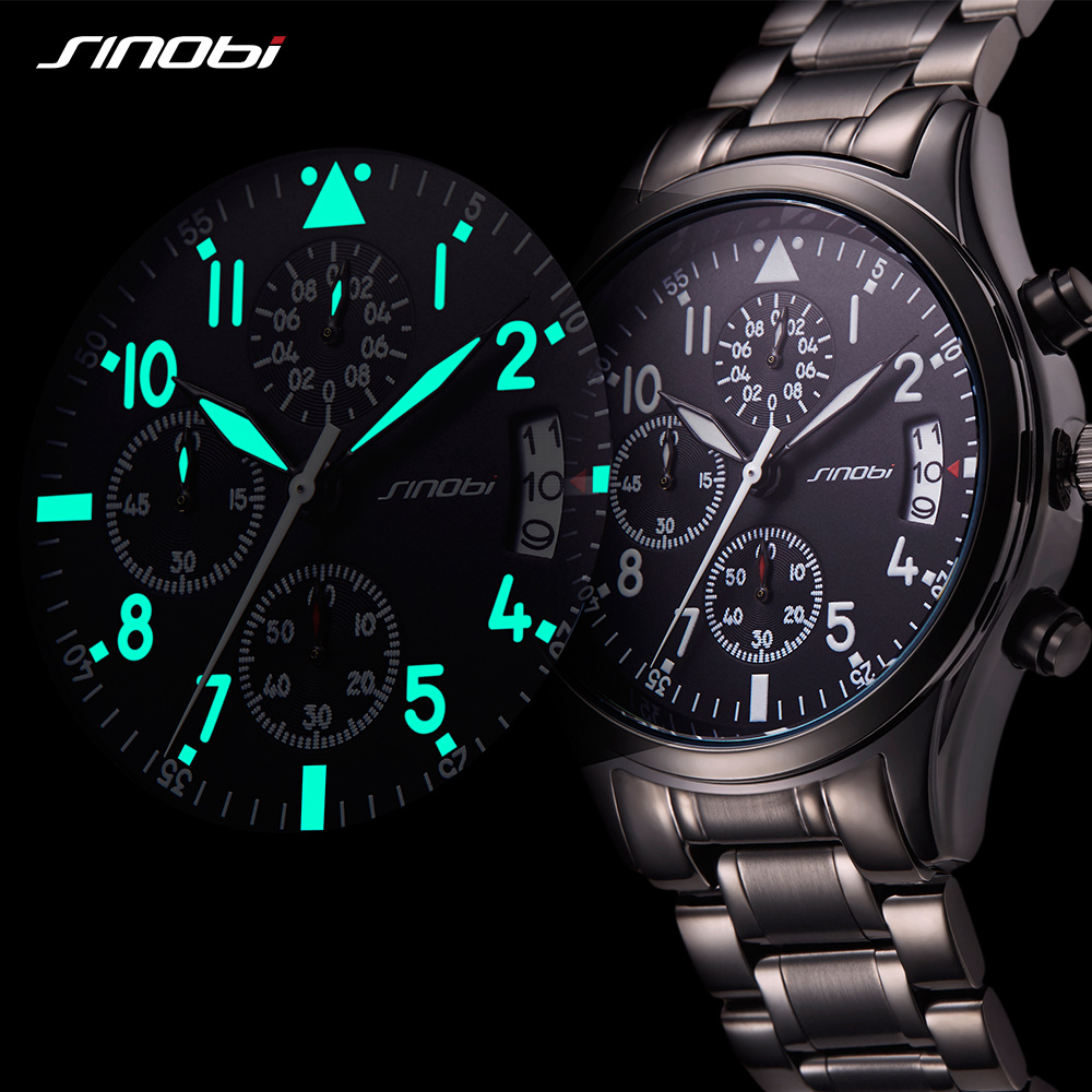 SINOBI Watches Men Waterproof Stainless Steel Luxury Pilot Wrist Watches Chronograph Date Sport Diver Quartz Watch Montre Homme