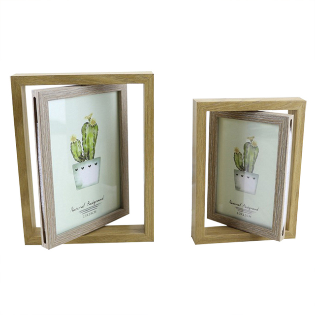 Household Creative Wooden Rotating Double Sided Photo Frame