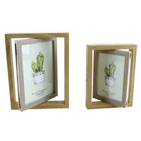 Household Creative Wooden Rotating Double Sided Photo Frame Ornaments Glass Photo Frames Desktop Craft Home Decor Birthday Gifts