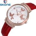 Mariposas Voladoras Ladies Relojes SKONE Mujeres Shining Rhinestone Reloj de Cuero Correa de Reloj de Cuarzo Mujer Vestido Reloj