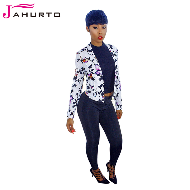 Jahurto Floral Print Blazer Graphic Autumn 2016 Women Cardigan Full Sleeve Luxury Work Office Ladies Basic Coat