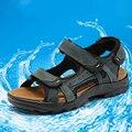 Хороший Новый Прибытия Лето 111% Натуральная Кожа Мужчины На Открытом Воздухе Сандалии Hook & Loop Коровьей Мужской Пляжная Обувь