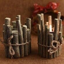 Año Nuevo rústico y romántico de madera delicada Navidad Vintage portavelas para DIY fiesta boda hogar Decoración artesanal