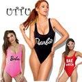 UTTU Correa Atractiva de Una Sola Pieza del traje de Baño Mujeres Cortan Monokini Imprimir Carta Barbie traje de Baño Playa de Baño Traje de Baño Sin Respaldo Desgaste