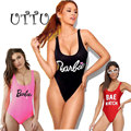 UTTU Sexy Tanga Um Pedaço Swimsuit Monokini Das Mulheres Alta Corte Carta Impressão Swimwear Praia Maiô Barbie Backless Swim Wear