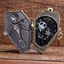 5PCS Wholesale Childs Skull Skeleton Coffin Bronze Chain Nightmare Before Christmas Halloween Gift Men&Wemom Quartz Pocket watch