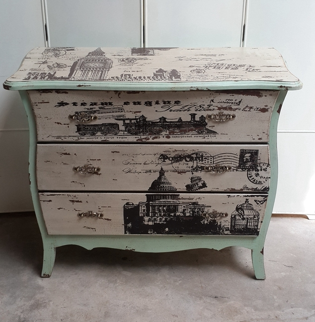 Past Painted Furniture Ikea Simple European Style Retro 3 Drawers Cabinet Hall Lockers Entrance