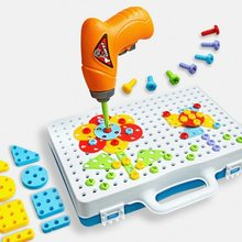 Children Toys Drill Puzzle Educational Toys DIY Screw Group Toys KidsTool Kit Plastic Boy Jigsaw Mosaic Design Building Toy(China)