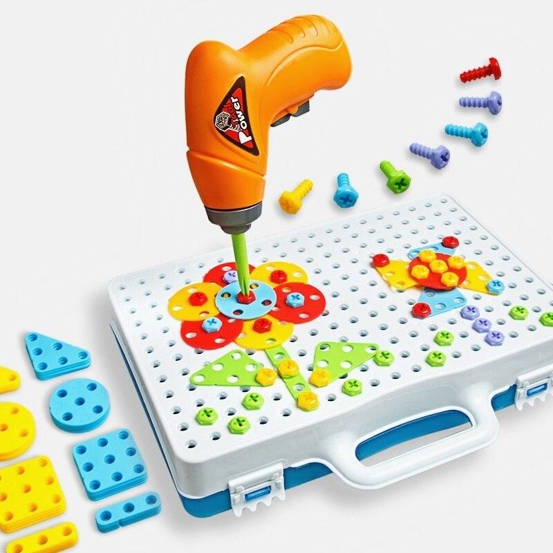 Enfants jouets perceuse Puzzle jouets éducatifs de travaux manuels groupe de vis jouets Kit de tabouret en plastique garçon Puzzle mosaïque conception jouet de construction