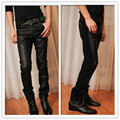 2017 new men patchwork leather pants Cultivate one's morality feet leather pants Cultivate one's morality personality