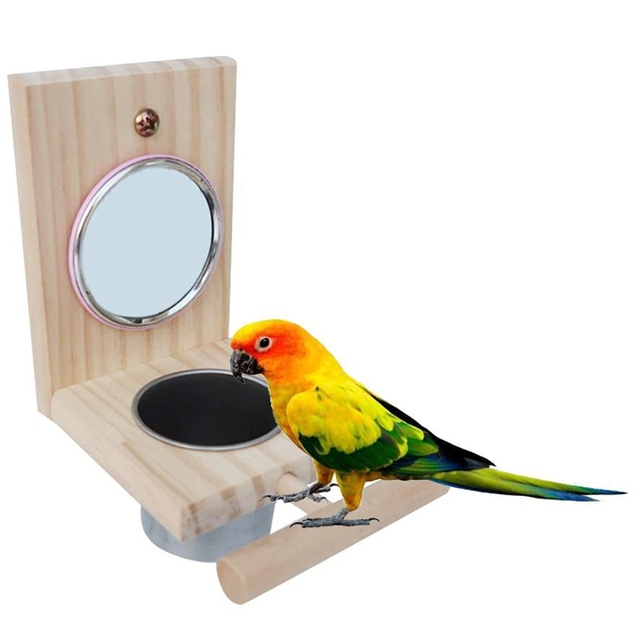 Wooden Bird Feeding Mirror Stainless Steel Food Bowl Feeder Combination Parrot Stand Bird Toy Cup Perches Bird Cage Station Ra 3