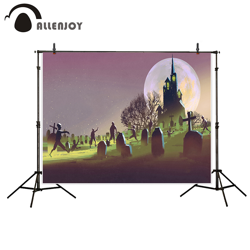 Allenjoy photography background Horrible Cartoon castle zombie tombstone moon Halloween theme backdrop photo background studio dr horrible and other horrible stories