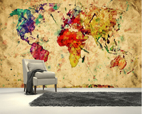 Custom Art Wallpaper Colourful Vintage Map 3D Retro Wallpaper For Living Room Bedroom Kitchen Background Waterproof