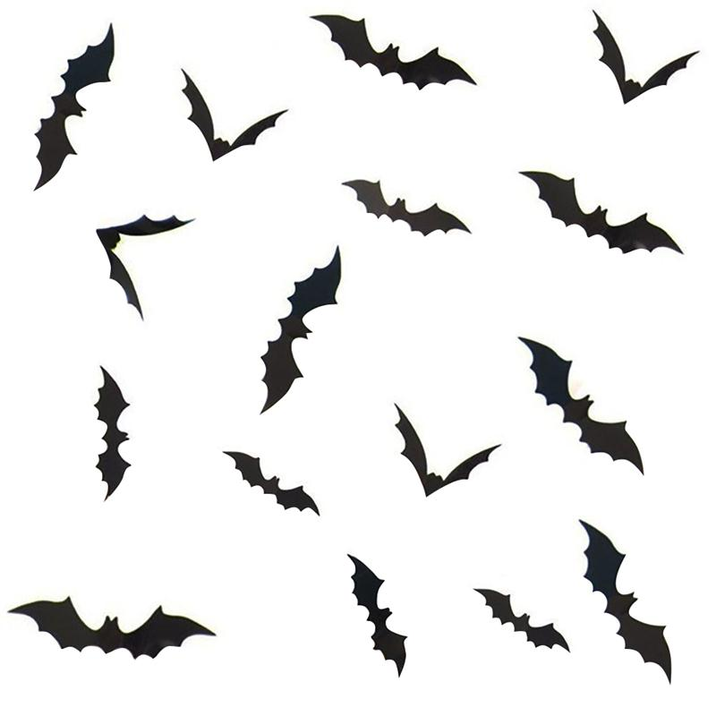 3 sets 12pcsset removable 3d bat stickers wall window stickers halloween bats decorations - Halloween Bat Decorations