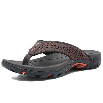 Merkmak 2019 Summer Men Shoes Mens Flip Flops Trendy Anti-slip Leather Casual Shoes Classic Massage Beach Slippers Big size 46 2