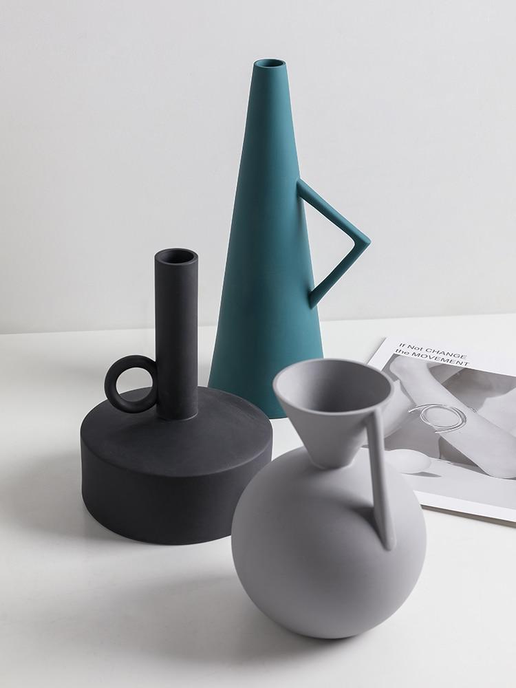 Irregular Geometry Ceramic Flower Vase Modern for Home Office Decoration/_M