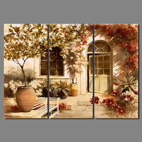 Di lusso Retrò 3 pz Fiore Giardino soggiorno camera decorazione di cerimonia nuziale della tela di canapa pittura muro stampato hanging home decor senza cornice