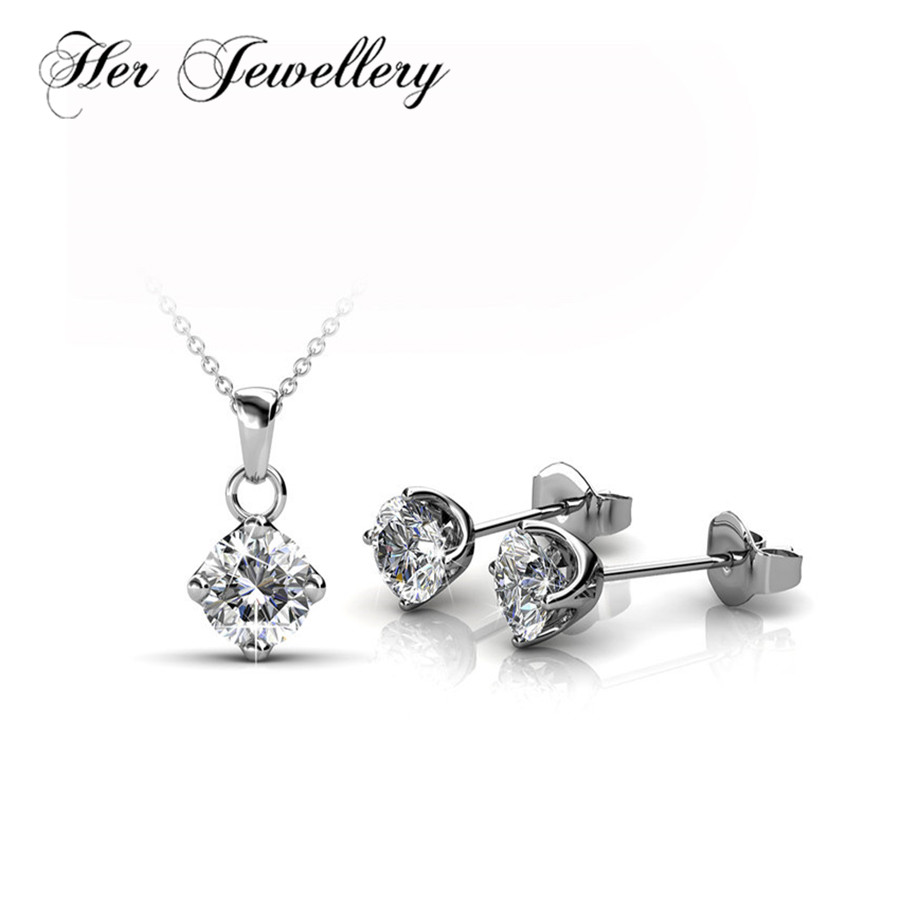 Her Jewellery Classic round jewelry set for women Anniversary jewellery Made with crystals from Swarovski HS089 цена