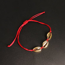 Trendy Golden Shell Beach Anklets Fashion Handwoven Wine Red Rope Foot Chain Ankle Bracelet for Women K217