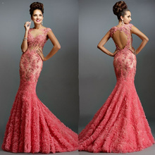 Fnoexw Glamorous O-Neck Mermaid Evening Dresses Prom Dress