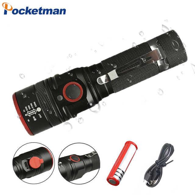 Đèn Pin LED xách tay USB Sạc Đèn LED USB XML T6 Điều Chỉnh Đèn Lồng 3 Chế Độ đèn pin cho pin 18650