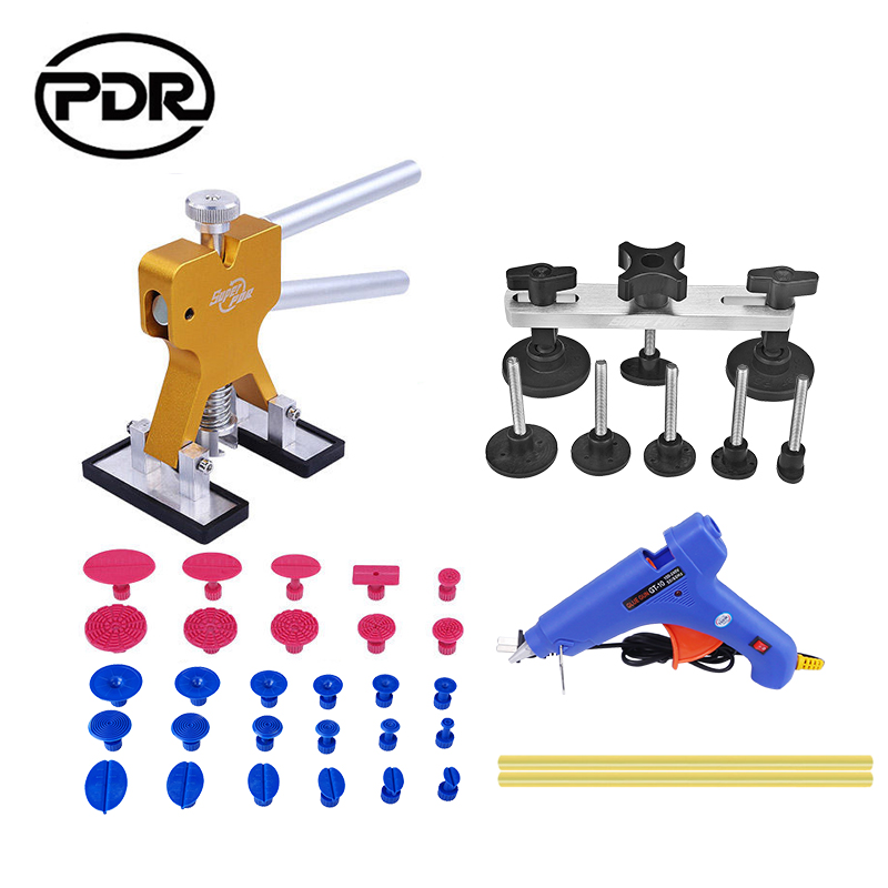 PDR Tools Dent Puller Kit Suction Cups For Dent Car Damage Repair Pulling Bridge Lifter Removal Glue Gun With EU Plug  pdr tools auto repair tools for car kit dent removal paintelss dent repair mini lifter glue gun pulling bridge puller glue tabs