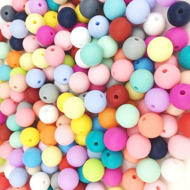 دعونا جعل 20 مللي متر سيليكون الخرز الجولة التسنين فضفاض 100 قطعة مجوهرات مضغ كرات ملونة الحسية الاطفال مضغ اللعب لدغة خرز قلادة